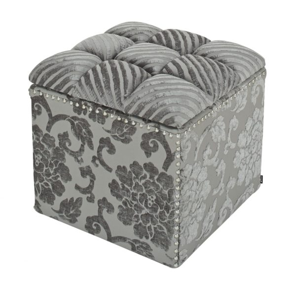 Pretty patterned suede foot stool