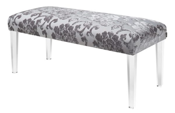 Posh patterned suede bench stool