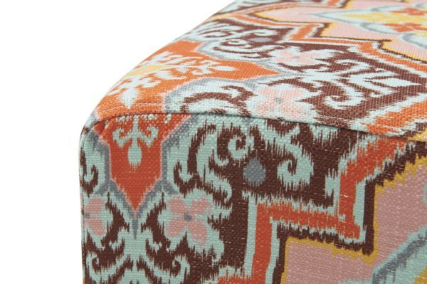 Aztec patterned square foot stool