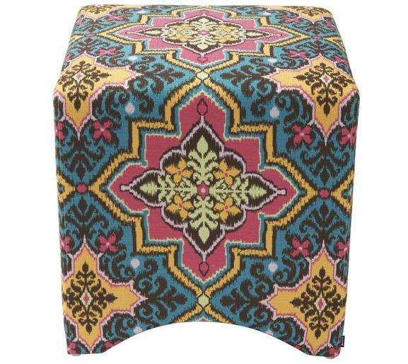 Blue aztec patterned foot stool