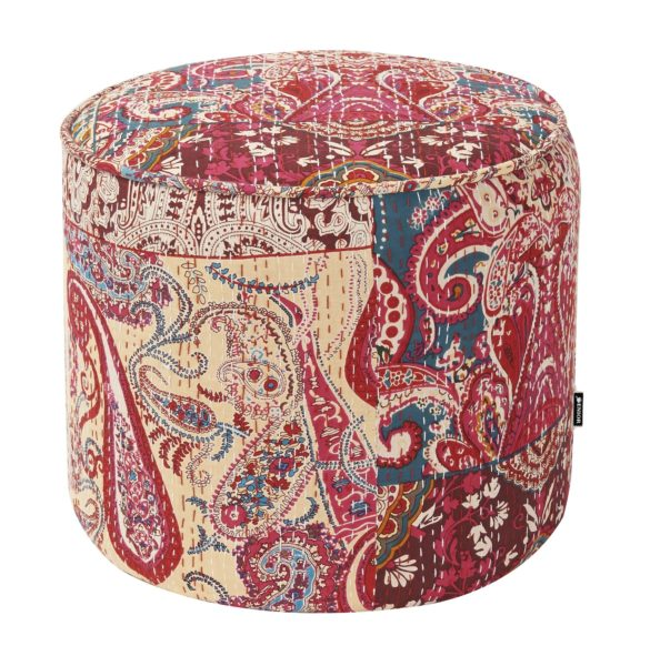 Tall round aztec patterned foot stool
