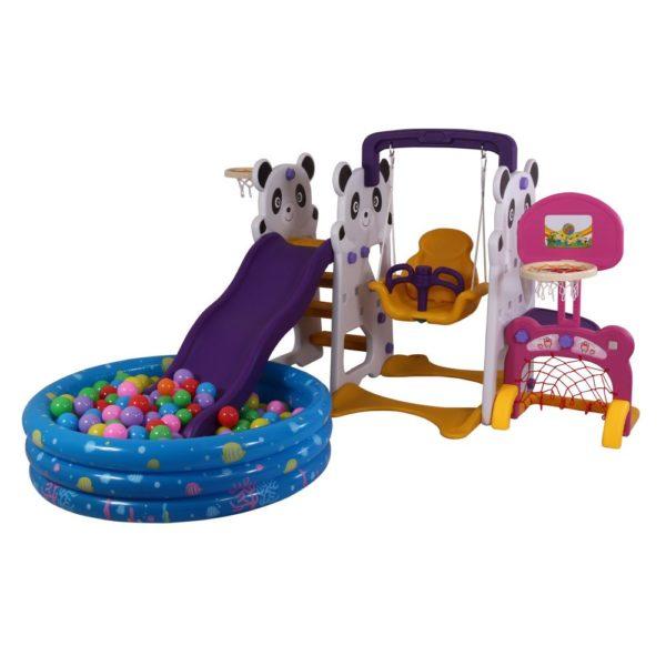 Cute panda slide & swing set
