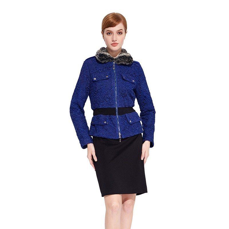 Blue faux fur collar coat