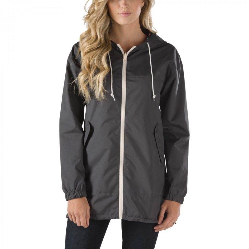 Deep grey drawstring hooded coat