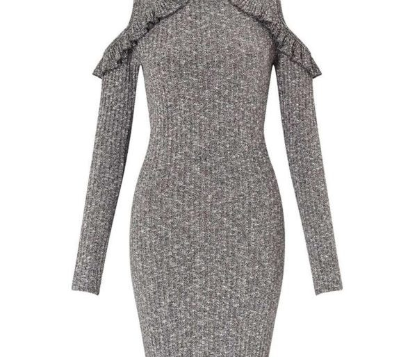 Cosy knitted cold shouldered grey mini
