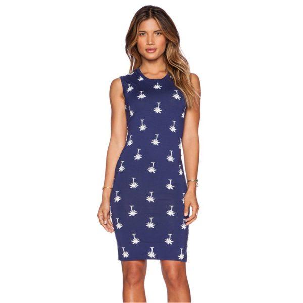 Slender patterned blue dress