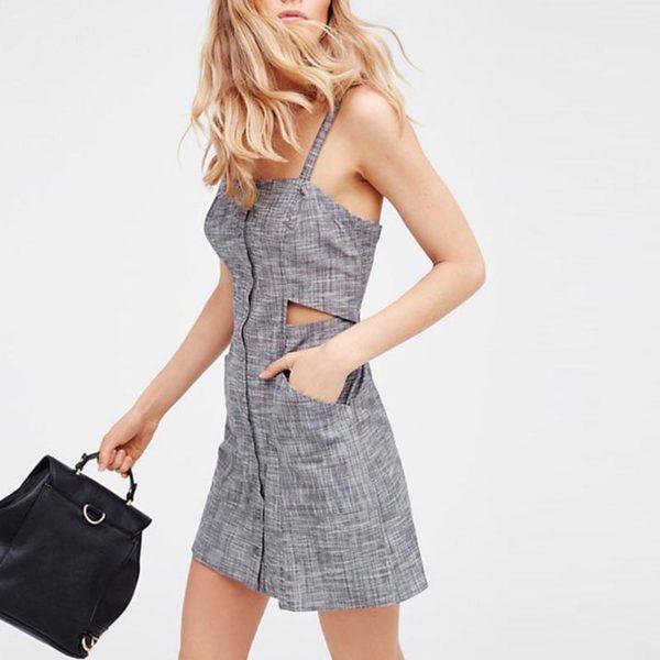 Light grey buttoned dress