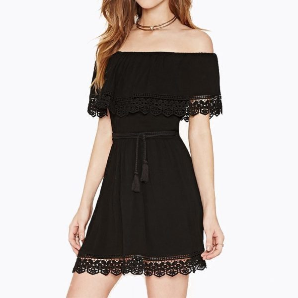 Sexy black bardot summer dress