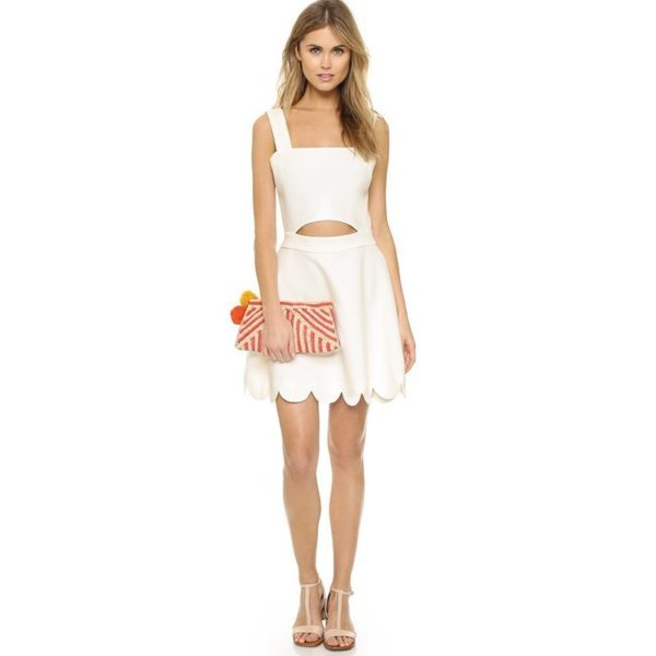 Chic white front cut dress