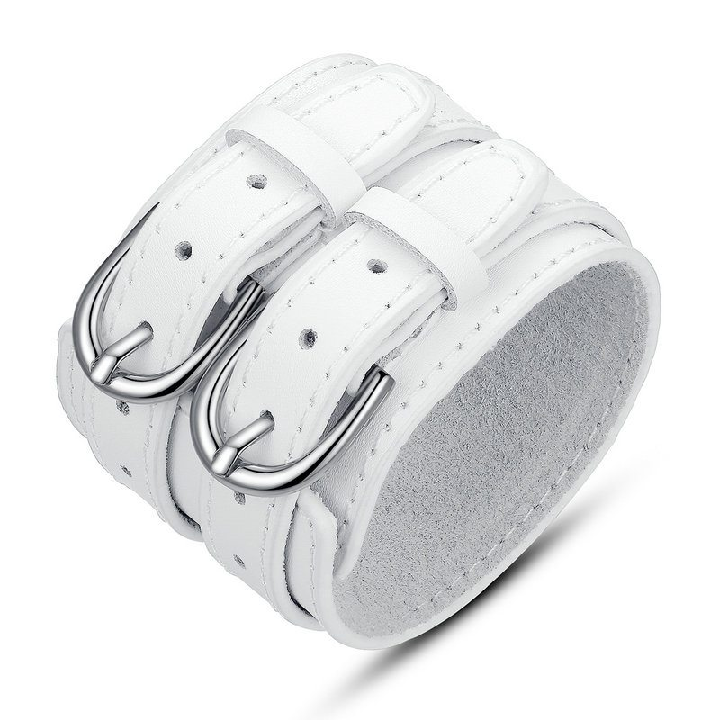 White leather double buckled bracelet