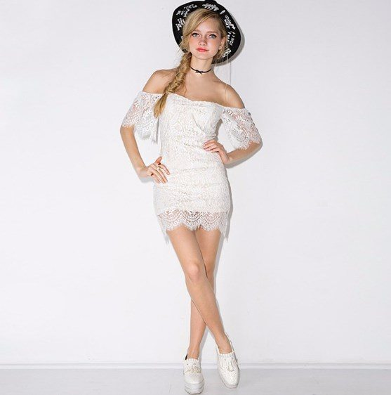 White laced off the shoulder mini