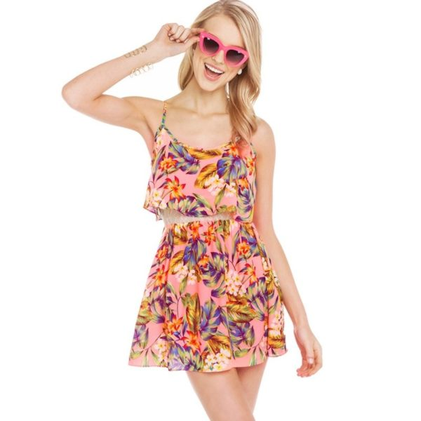 Tropical floral layered dress