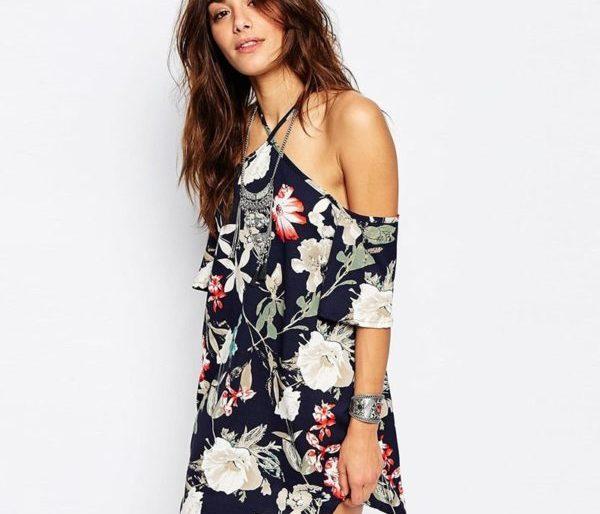 Sultry floral cold shoulder dress
