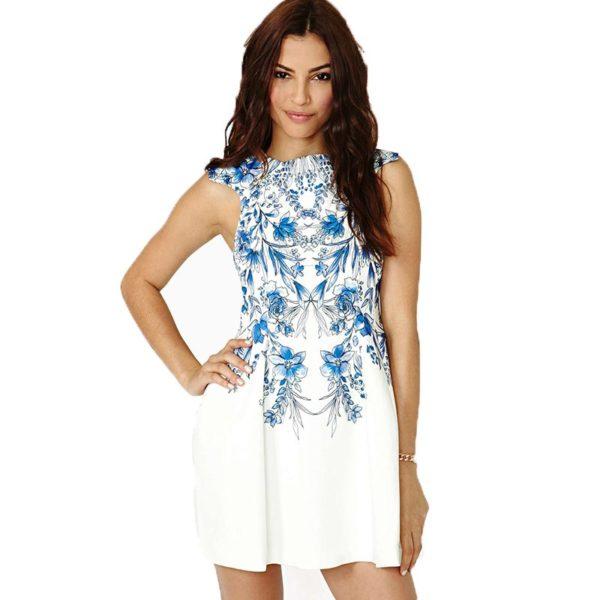 Royal blue floral patterned dress