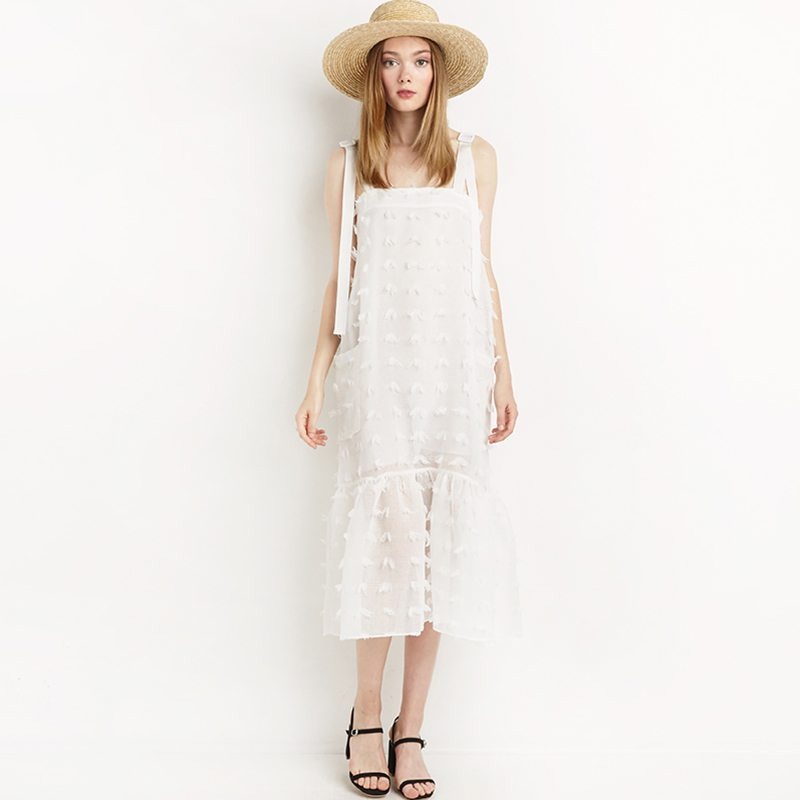 Cute white strapped midi