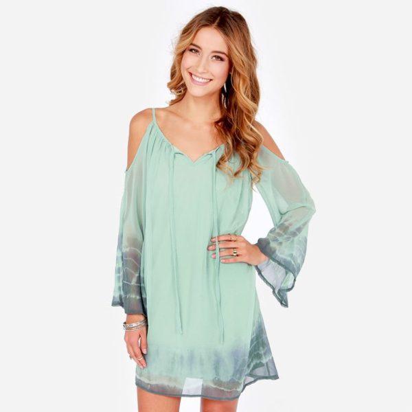 Light turquoise cold shoulder dress