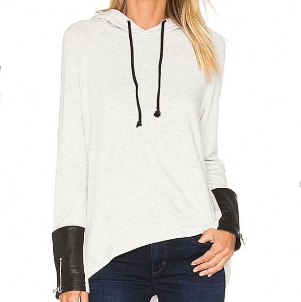 Sexy white leather sleeved hoodie