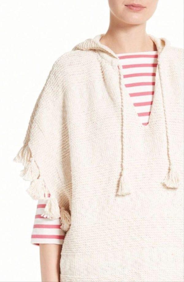 Knitted cream tasseled hoodie