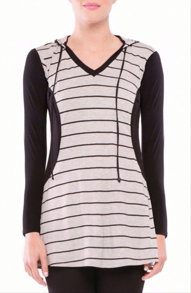 Long striped drawstring hoodie