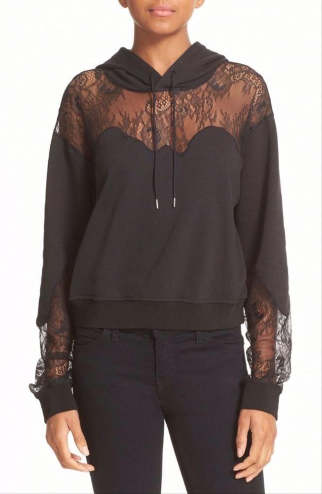 Chic laced black hoodie