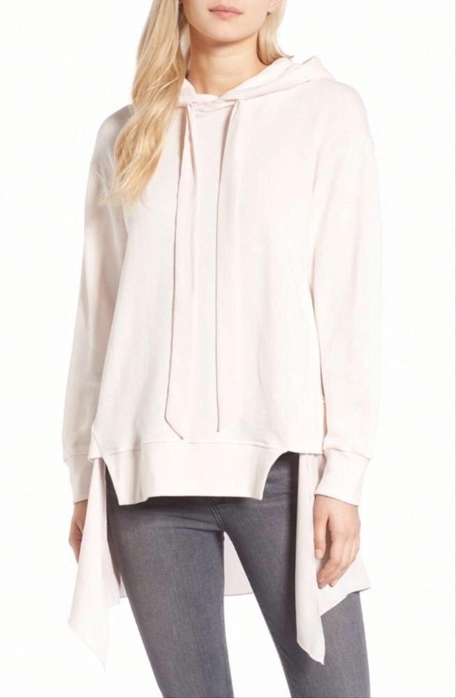 Layered pale pink drawstring hoodie