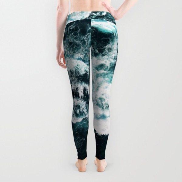 Black mesh detailed leggings