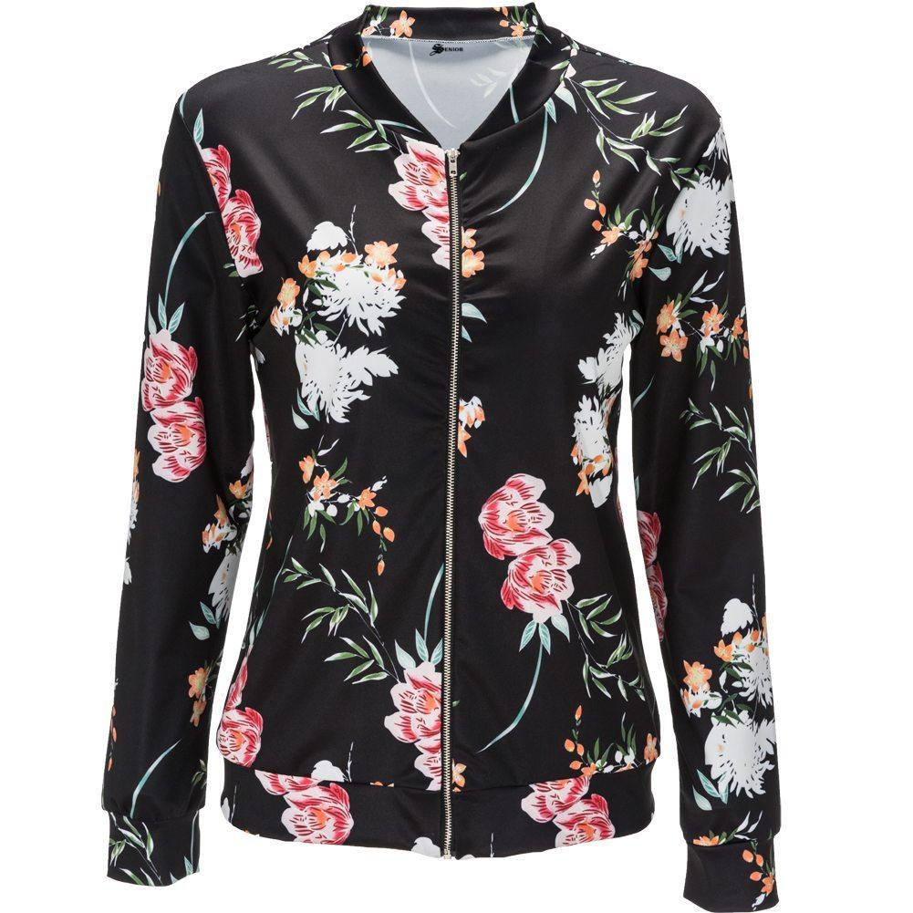 Pretty floral black bomber jacket